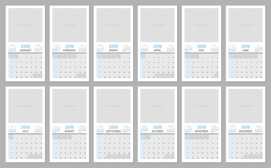 Collection calendars, each month, 2019, copy space, flat, template. Suitable scheduler with copy space for your creativity. Vector illustration of menology
