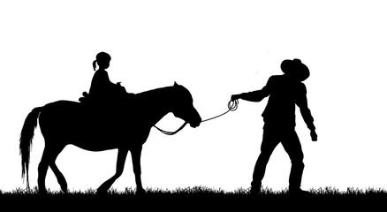 silhouette cowboy and horse on white background.