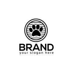 Dog paws logo vector. Flat logo design
