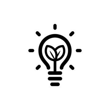 Lightbulb with leaf inside, symbol of ecological renewable energy