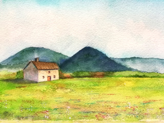watercolor fantasy landscape little house in the countryside