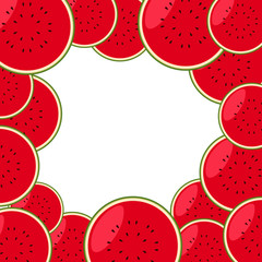 Border template with fresh watermelon