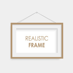 Realistic black photo frame hanging. Vector.
