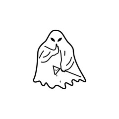 ghost silence icon. Element of ghost elements illustration. Thin line  illustration for website design and development, app development. Premium icon