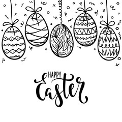 happy Easter Hand drawn calligraphy and brush pen lettering with frame of doodle eggs. design for holiday greeting card, invitation, posters, banners of the happy Easter day.