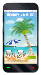 smartphone with summer vacation sand beach screen