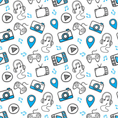Hand-drawn doodle online media concept is seamless pattern background. Vector illustration.