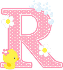 initial r with flowers and cute rubber duck isolated on white. can be used for baby girl birth announcements, nursery decoration, party theme or birthday invitation. Design for baby girl