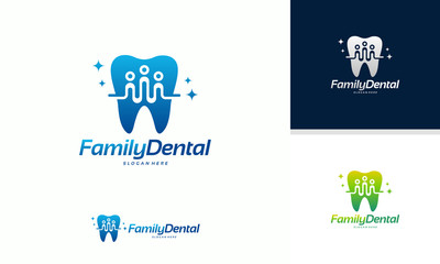 Family Dental logo template vector, Dental Group logo designs concept vector illustration