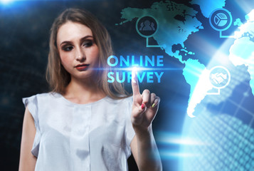 The concept of business, technology, the Internet and the network. A young entrepreneur working on a virtual screen of the future and sees the inscription: Online survey