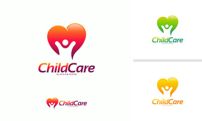 Charity Group logo designs concept, Child Care logo, People Care logo designs concept vector illustration