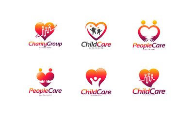 Set of Charity Group logo designs concept, Child Care logo, People Care logo designs concept vector illustration