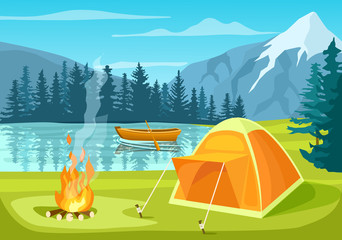 Summer tourist camp in forest near lake  illustration. Campfire and tourist tent on river bank. Camping and hiking, summer vacation outdoor, adventure travel, mountain landscape in cartoon style