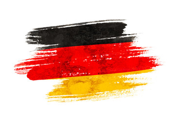 Art brush watercolor painting of Germany flag blown in the wind isolated on white background. Fototapete