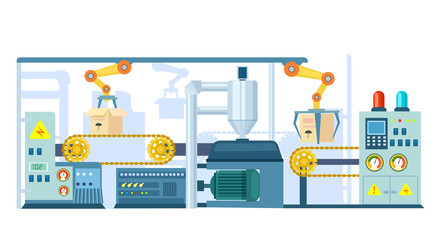 Factory conveyor on packing in flat design  illustration. Automatic production line with cardboard boxes. Industrial machine, production line, robotic conveyor belt system, engineering concept