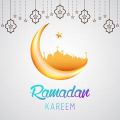 Ramadan Kareem background vector illustration design graphic with islamic crescent moon 3D.