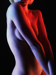 Beauty Nude Woman in Colorful bright lights