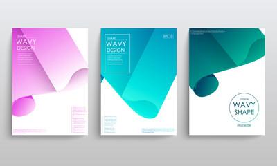 Set of cards with blend liqud colors. Futuristic abstract design. Usable for banners, covers, layout and posters. Vector.