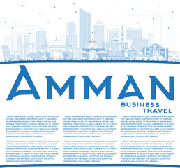 Outline Amman Jordan Skyline with Blue Buildings and Copy Space.