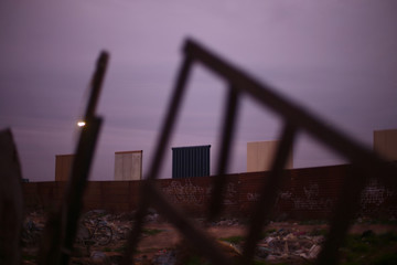 Prototypes for President Donald Trump's border wall with Mexico are seen in this picture taken from the Mexican side of the border in Tijuana