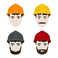 Working Men in Hard Hats, Man's Face in a Protective Helmet on a White Background , Vector Illustration