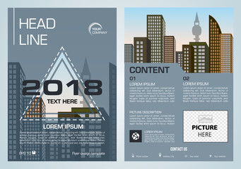 Vector flyer, corporate business, annual report, brochure design and cover presentation with colorful triangle and blue color