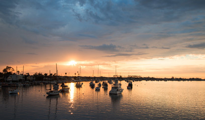 Sunset over Newport Beach Harbor in southern California United States Wall mural