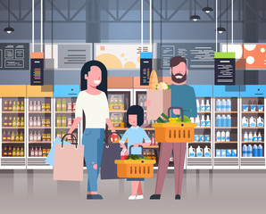 Parents With Daughter Shopping At Supermarket Buying Fresh Grocery Products, Consumerism Concept Flat Vector Illustration