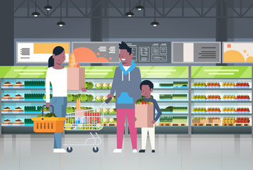 African American Family Shopping At Supermarket And Buying Products Over Shelves At Grocery Consumerism Concept Flat Vector Illustration