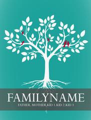 Familien-Stammbaum für Familie mit Kindern mit Vögeln