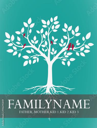 Familien stammbaum f r familie mit kindern mit v geln im genes de archivo y vectores libres de - Stammbaum basteln mit kindern ...
