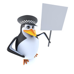 3d Funny cartoon police penguin character holding a blank placard