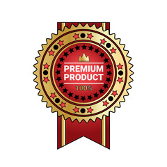 Premium Product Quality Badge Golden Seal With Ribbon Isolated Vector Illustration