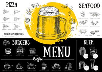 Restaurant cafe menu, template design. Food flyer.