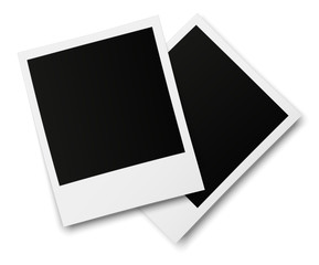 Realistic old photo frames isolated on white background. Template retro photo design. Vector illustration.