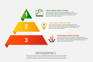Modern vector illustration 3d. Infographic template of the pyramid with three elements, rectangles. Contains icons and text. Designed for business, presentations, web design, diagrams with 3 steps