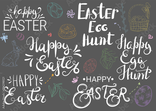 Happy easter easter egg hunt hand written greetings with different happy easter easter egg hunt hand written greetings with different traditional easter attributes m4hsunfo