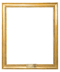 old antique classic gold frame over white background isolated