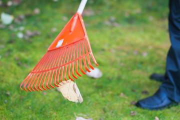 Worker work in garden with rake