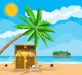Pirates treasure island with chest