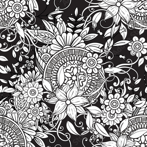 Floral Seamless Pattern In Black And White Adult Coloring Book Page With Flowers Mandalas
