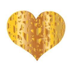 A flat vector image of a golden heart. Golden heart with butterflies for design