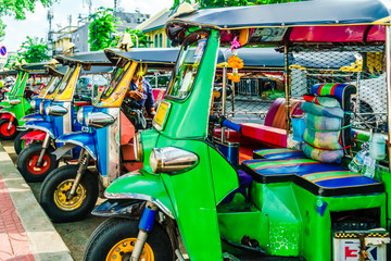 View on line of Tuktuk in the city center of bankok in Thailand