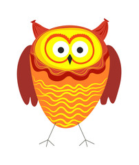 Funny owl with big eyes and bright plumage