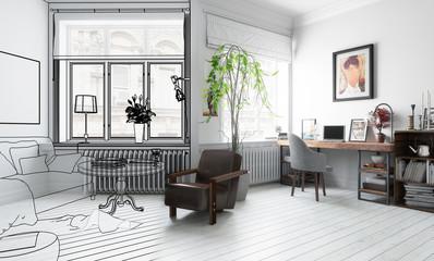 Möbliertes Wohnzimmer (Projektierung)