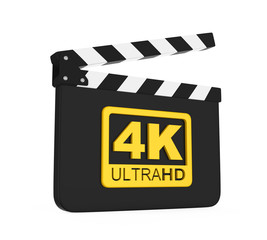 Movie Slate with 4K Ultra HD Icon Isolated