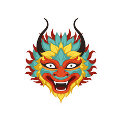 Colorful dragon head, element of Chinese traditional Boat Festival vector Illustration on a white background