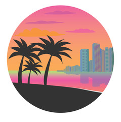 Flat vector illustration of Miami. Icon with Miami in the circle. Resort city with palm trees at sunset for design.