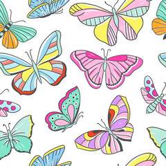 Seamless colorful pattern with butterflies. Flying butterflies beautiful background