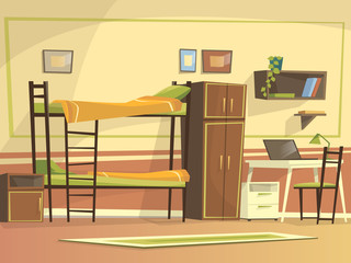 Vector cartoon student dormitory room interior background template. University, high school college, hostel living apartment. Illustration with bunk bed, wardrobe workplace desk chair laptop bookshelf